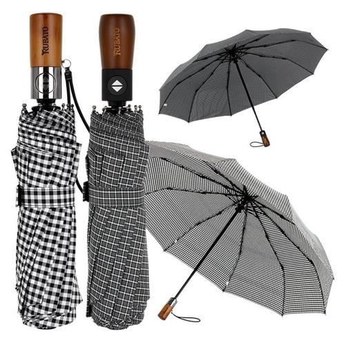 로앤루 원목 체크 3단 우산